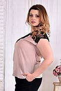 Женская летняя шифоновая блуза 0544 цвет пудра размер 42-74, фото 4