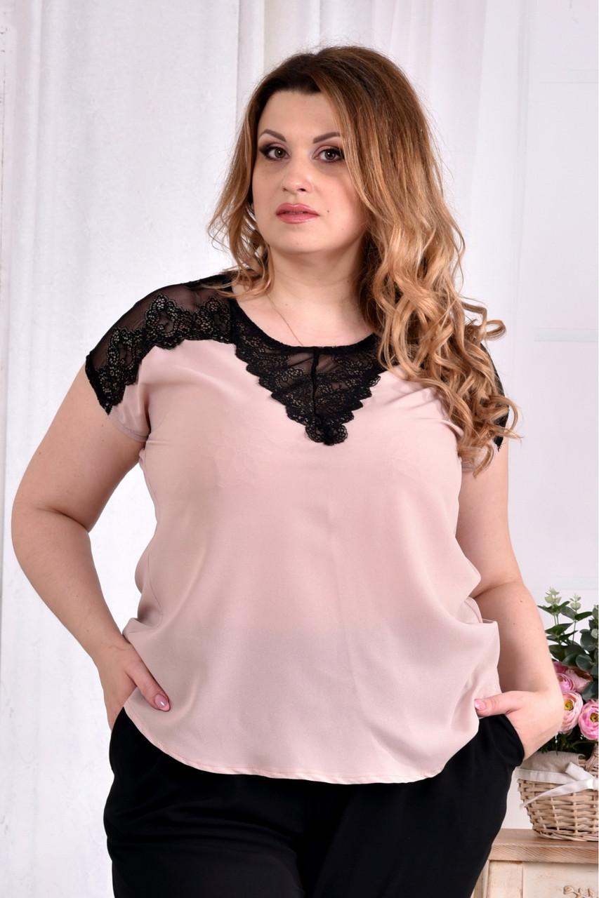 Женская летняя шифоновая блуза 0544 цвет пудра размер 42-74