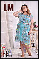 До 74 размера, Молодежное летнее платье шифоновое большого размера с цветами батал голубое сарафан 770548