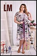 До 74 размера,Летнее платье из шифона фиолетовое большого размера с цветочным принтом батал сарафан 770548