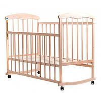 Детская кроватка для новорожденных НАТАЛКА на колесах светлая