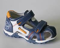 Детские кожаные ортопедические босоножки р.20,25 синие на липучках для мальчиков