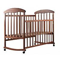 Детская кроватка для новорожденных НАТАЛКА на колесиках темная