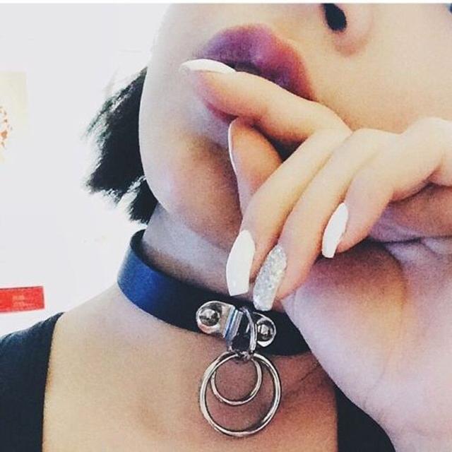 Чокер с двойным металлическим кольцом D.Ring из эко-кожи чёрный