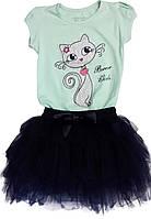 Костюм для девочки футболка+ юбка Breeze girls размер  98 104