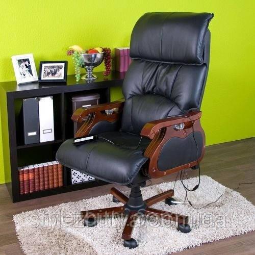 Кресло офисное с массажем. Для руководителя. Натуральная кожа