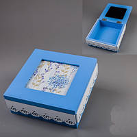 "Деревянная шкатулка ""Синий квадрат"" с местом для фотографии 15х15х6 см"