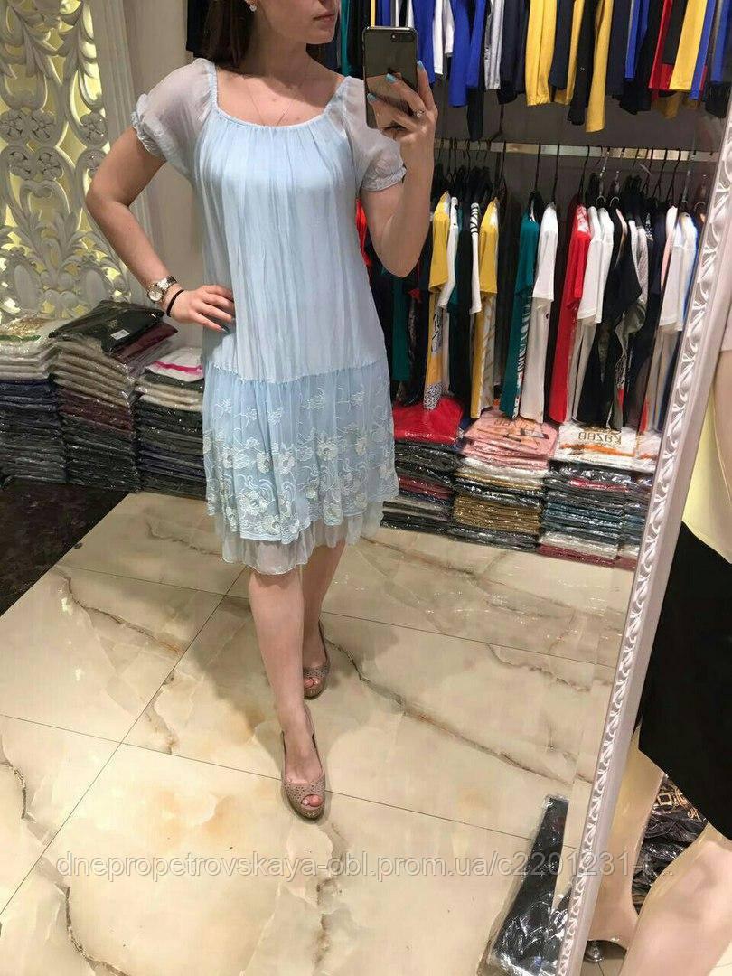 Летнее  голубое платье бохо Италия