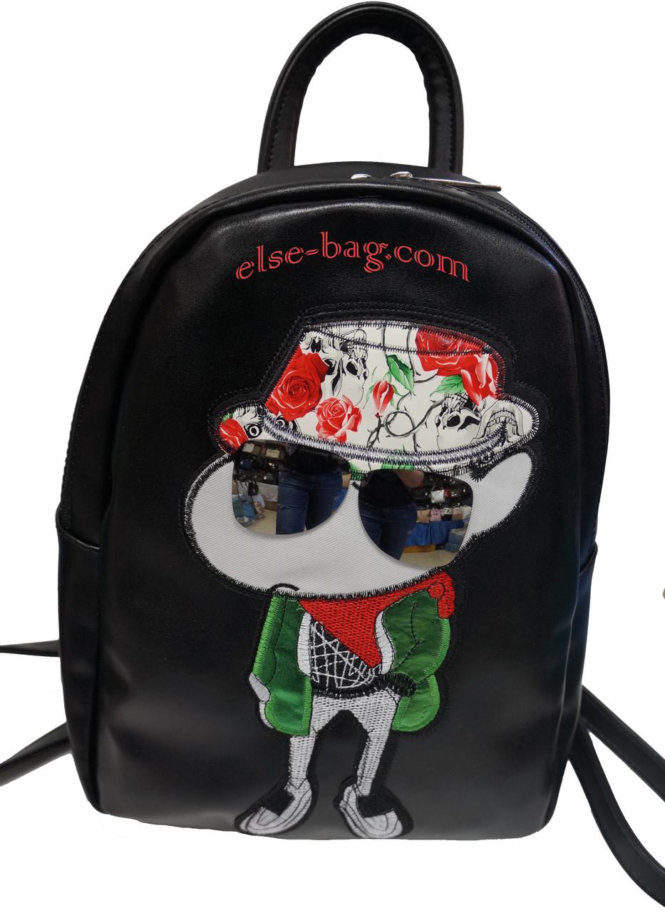 Молодежный городской рюкзак с апликацией черный под масло-кожу