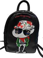 Молодежный городской рюкзак с апликацией черный под масло-кожу, фото 1