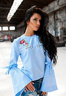 Женская хлопковая блузка с вышивкой рукав фонарик летняя