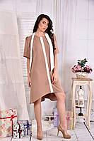 Платье а-силуэта для полных женщин 0556 беж