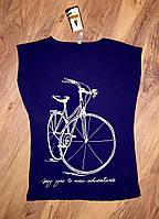 Женская футболка велосипед синяя