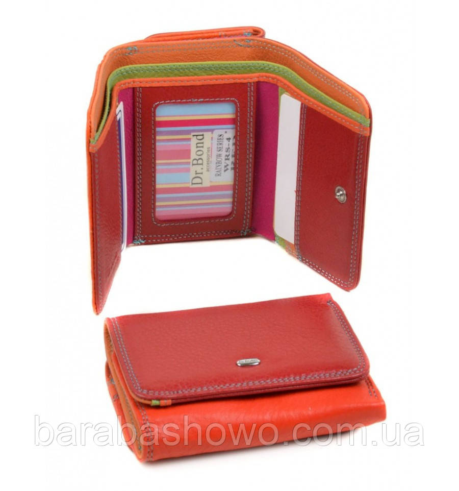 Кошелек Rainbow кожа dr.Bond WRS-4 red, кошелек оранжевый, апельсиновая корочка