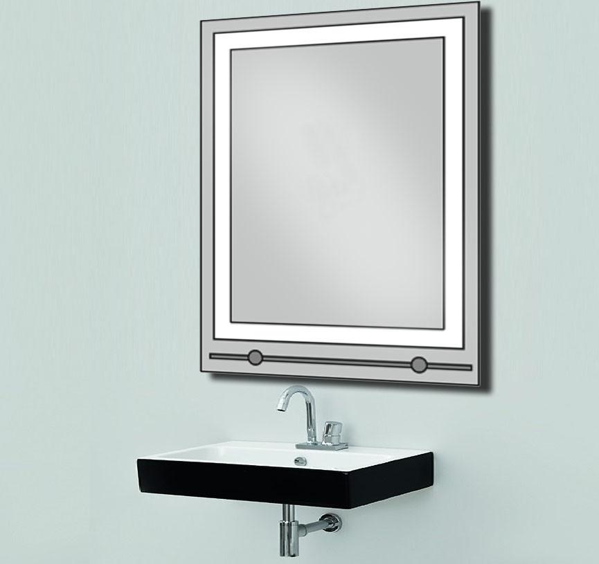 Зеркало со светодиодной подсветкой и полкой 600х800