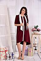 Платье а-силуэта для полных женщин 0556 бордо