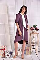 Платье а-силуэта для полных женщин 0556 бисквит