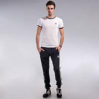 Мужские спортивные штаны Adidas серо-синие с манжетами M, L,XXL