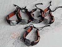 Кожаный браслет со знаком зодиака металличный