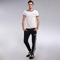 Мужские спортивные штаны Adidas черные с манжетами M, L,XL, XXL