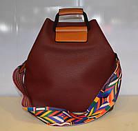 Женская сумка с цветным ремешком 2 в 1 , кожа pu красного цвета