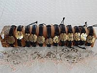 Мужские кожаные браслеты со знаком зодиака металл