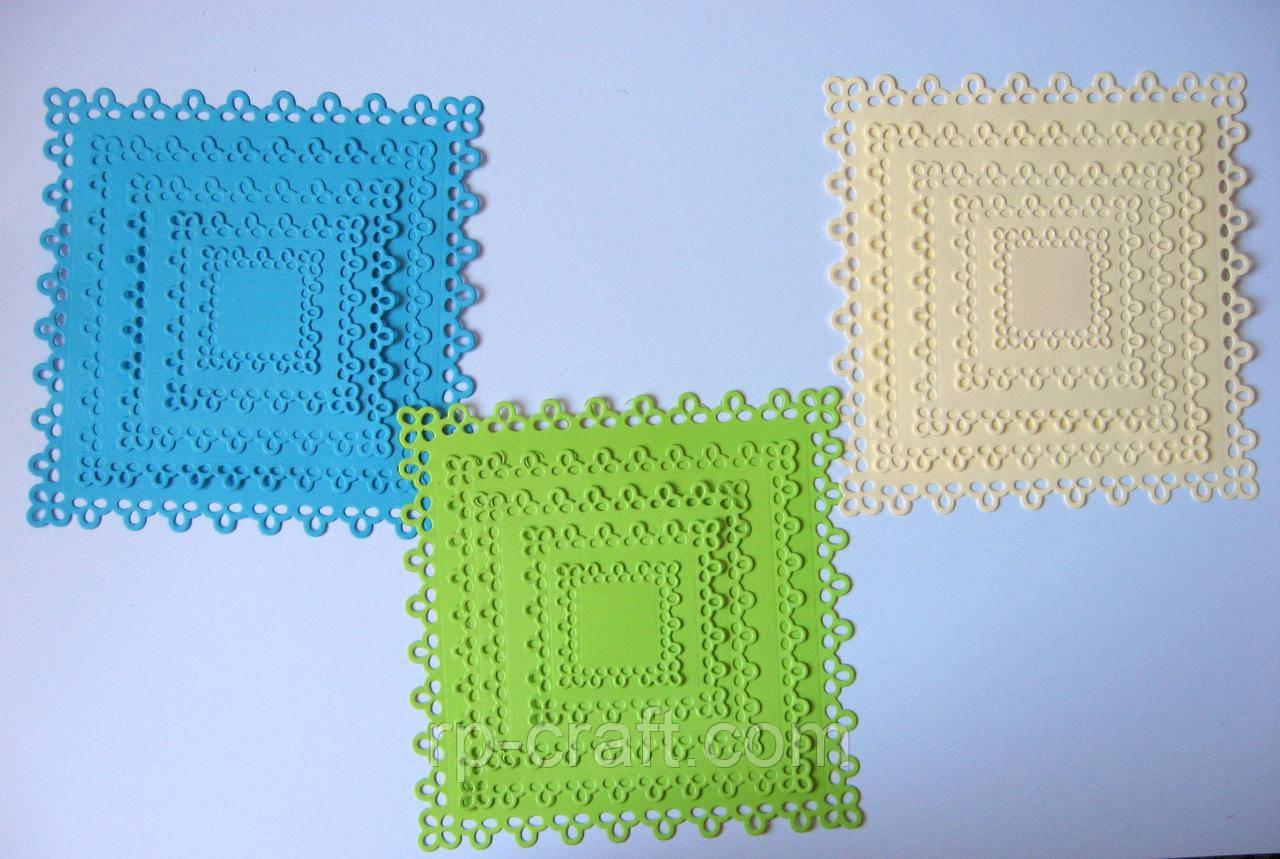 Вырубка из картона. Набор ажурных квадратов, 5 штук, 139х139 мм