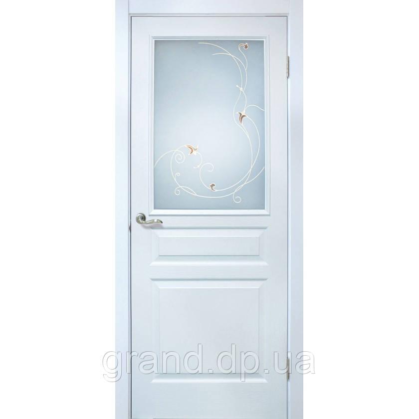 """Дверь межкомнатная """"Барселона ПВХ"""" с рисунком на стекле, цвет белый"""