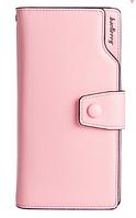 Светло-розовый(пудра) женский стильный удобный кожаный кошелек-клатч  Baellerry Новинка