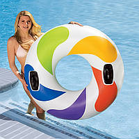 Яркий белый круг, водные игры и плавание, 58202, большого диаметра 122см, дополнительное удобство - ручки