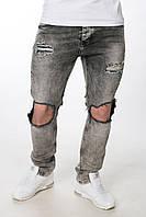 Модные черные мужские джинсы с рваностью. Новинка 2017 года