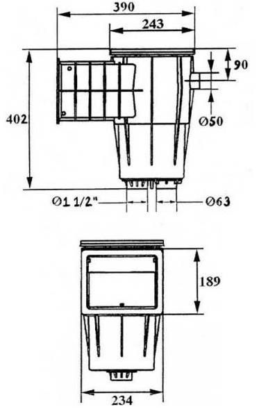 скиммер Kripsol Standard SKS.C размеры