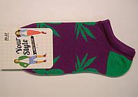 Яркие носки с марихуаной низкие фиолетового цвета женские