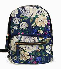 Рюкзак для школы и прогулок с цветочным принтом синий, фото 2