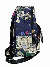 Рюкзак для школы и прогулок с цветочным принтом синий, фото 3