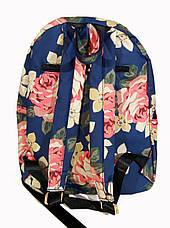 Рюкзак для школы и прогулок с цветочным принтом голубой, фото 2