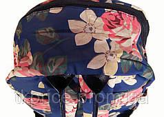 Рюкзак для школы и прогулок с цветочным принтом голубой, фото 3