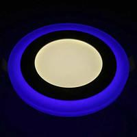 Светильник встраиваемый светодиодный круглый 6W Feron AL2662 с синей подсветкой