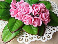 Розы из латекса ярко розовые d 1-2 см