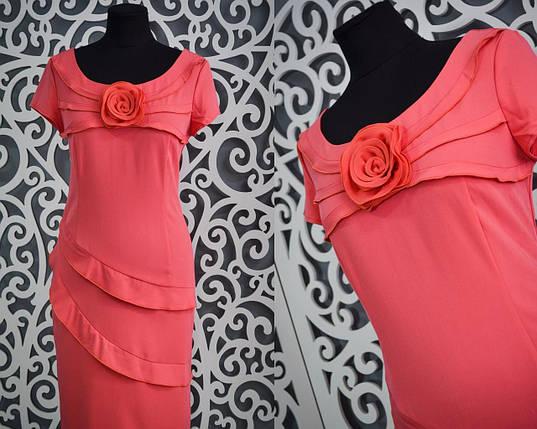 """Нежное женское платье приталенного кроя """"коралл"""" с розой 46, 48 размер норма, фото 2"""
