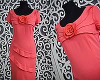 """Нежное женское платье приталенного кроя """"коралл"""" с розой 46, 48 размер норма"""