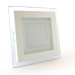 LED светильник точечный со стеклом, врезной, квадратный, алюминиевый, белый, 6Вт