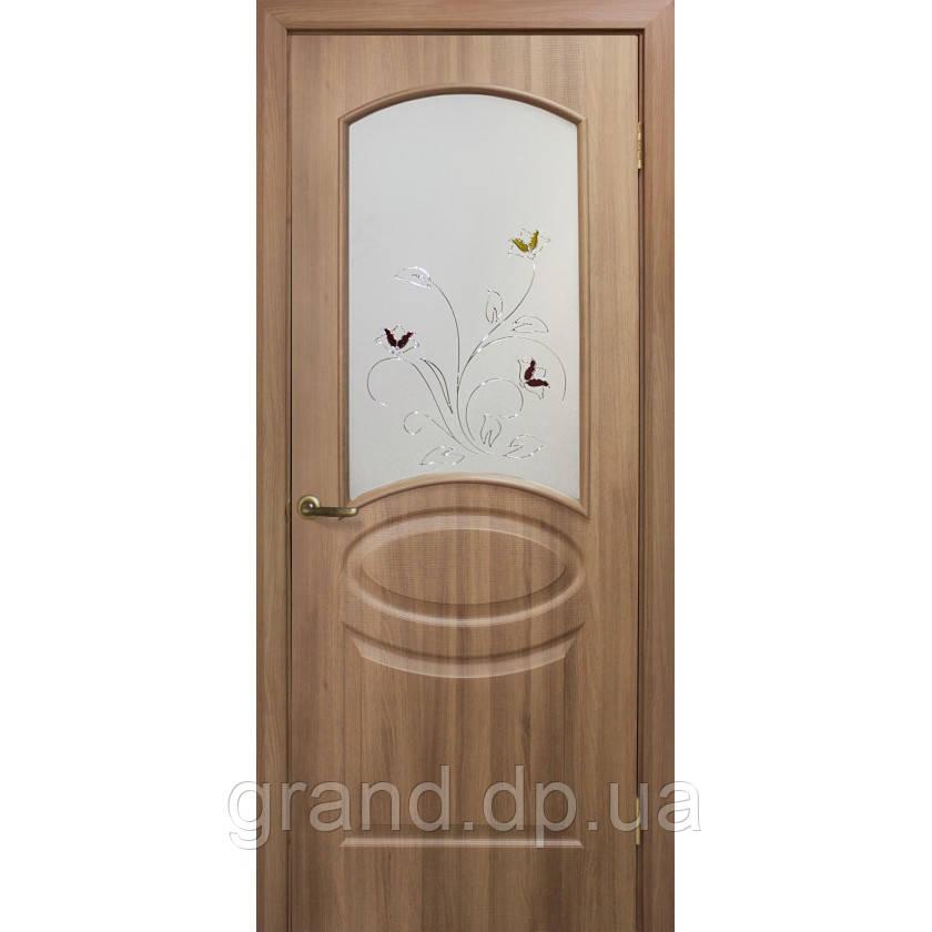 Двери межкомнатные Омис Лика ПВХ с рисунком на стекле, цвет дуб золотой
