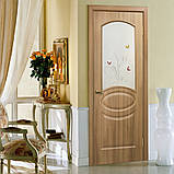 Двери межкомнатные Омис Лика ПВХ с рисунком на стекле, цвет дуб золотой, фото 2