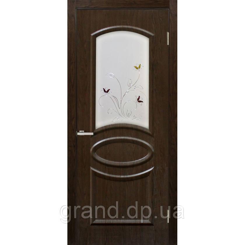 """Дверь межкомнатная """"Лика ПВХ"""" с рисунком на стекле, цвет каштан"""