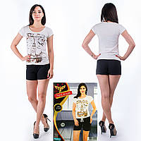 Женский комплект футболка+шорты Турция. Night Angel 5155 L/XL. Размер 44-46.
