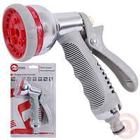Пистолет-распылитель для полива хромированный 8-ми функциональный (центральный, туман, душ.) AB INTERTOOL GE-0004