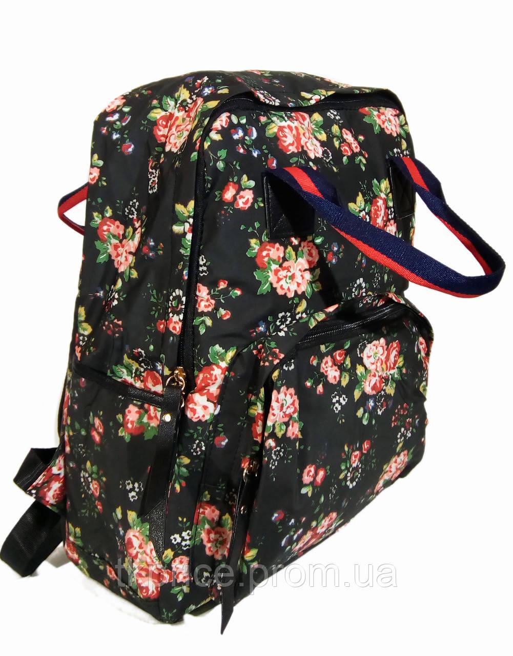 Сумка - рюкзак для школы и прогулок с цветочным принтом черный
