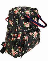 f96d9215fa0f Сумка - рюкзак для школы и прогулок с цветочным принтом черный