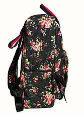 5d727dc1ff7c Сумка - рюкзак для школы и прогулок с цветочным принтом черный, фото 3